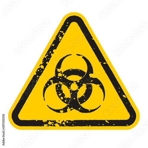 Leinwand Poster Grunge Danger biohazard sign isolated on white background