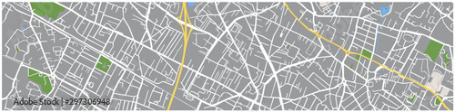 Obraz Map of an unknown city. streets squares and parks. Rivers and ponds. For use as a banner or graphic for a website. - fototapety do salonu