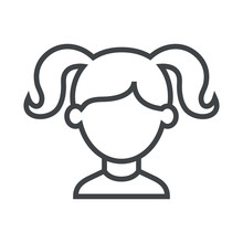 Line Icon Girl With Pigtails