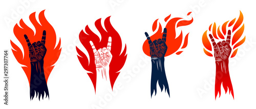 Photo Rock hand sign on fire set, hot music Rock and Roll gesture in flames, Hard Rock festival concert or club, vector labels emblems or logos, musical instruments shop or recording studio