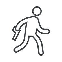 Line Icon Man Runs With Firearm