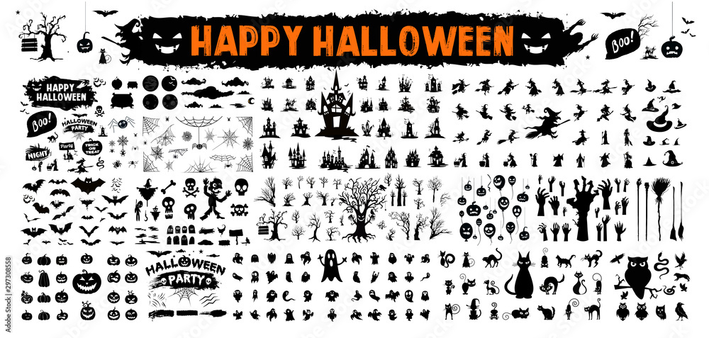 Fototapety, obrazy: halloween silhouettes black icon and character. Vector illustration