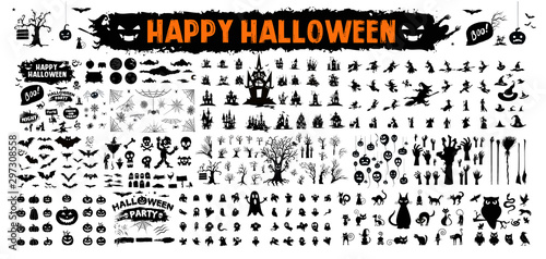 Fotografie, Obraz  halloween silhouettes black icon and character
