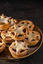 British Christmas Mince Pies On Dark Background.