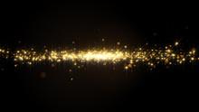 Golden Powder Color Spreading Stream Effect In Darkness.