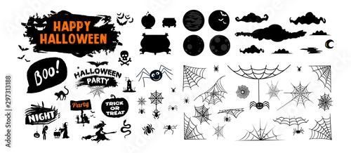 Fototapeta  halloween silhouettes black icon and character