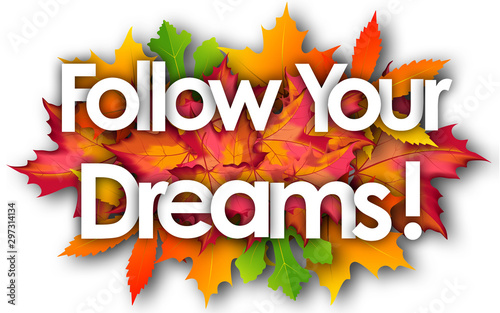 follow your dreams word and autumn leaves background Wallpaper Mural