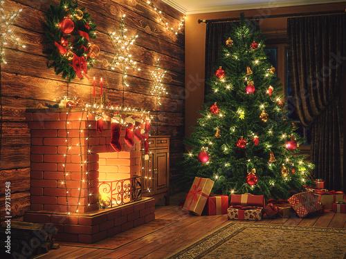 Fototapeta 3D Rendering Christmas interior obraz na płótnie