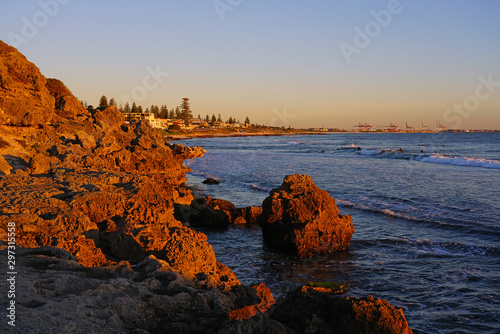 Sunset view of Cottesloe Beach over the Indian Ocean near Perth, Western Australia