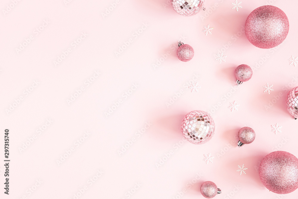 Fototapety, obrazy: Christmas composition. Pink decorations on pastel pink background. Christmas, winter, new year concept. Flat lay, top view, copy space