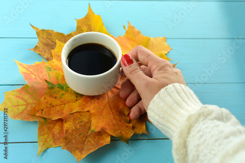 Foto op Plexiglas koffiebar A young girl sits in a cafe and drinks coffee. Autumn. Beverages.