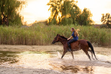 A Young Girl Riding A Horse On...