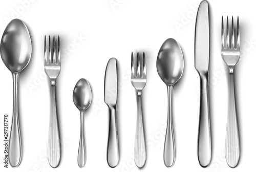 Fototapeta 3d realistic cutlery set with table knife, spoon, fork, tea spoon and fish spoon. obraz