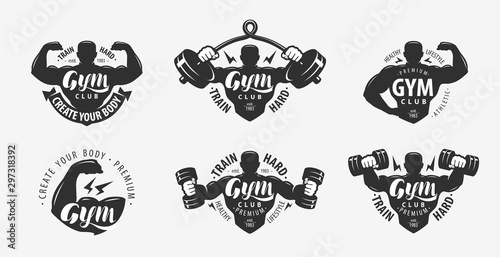 Canvastavla  Gym set of logos and labels