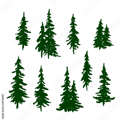 Valokuva Green pine trees set for Christmas and New Year decoration