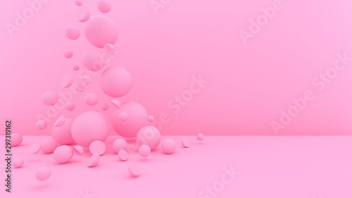 Fototapety, obrazy: 3d bubbles background. Balls. Spheres. Abstract wallpaper. Geometric objects. Trendy modern illustration. 3d rendering. Falling shapes. Minimal style. Pastel pink.