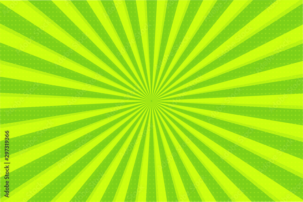 Fototapety, obrazy: Abstract background of green and yellow rays