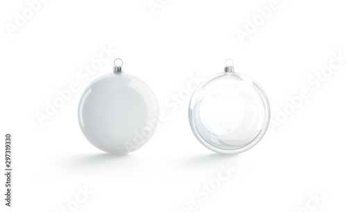 Vászonkép  Blank white and transparent christmas ball mock up, isolated