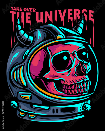 Skull astronaut take over the universe. Skull inside astronaut helmet with blue lightning vector illustration. dead astronaut in spacesuit for poster , emblem , and t-shirt design