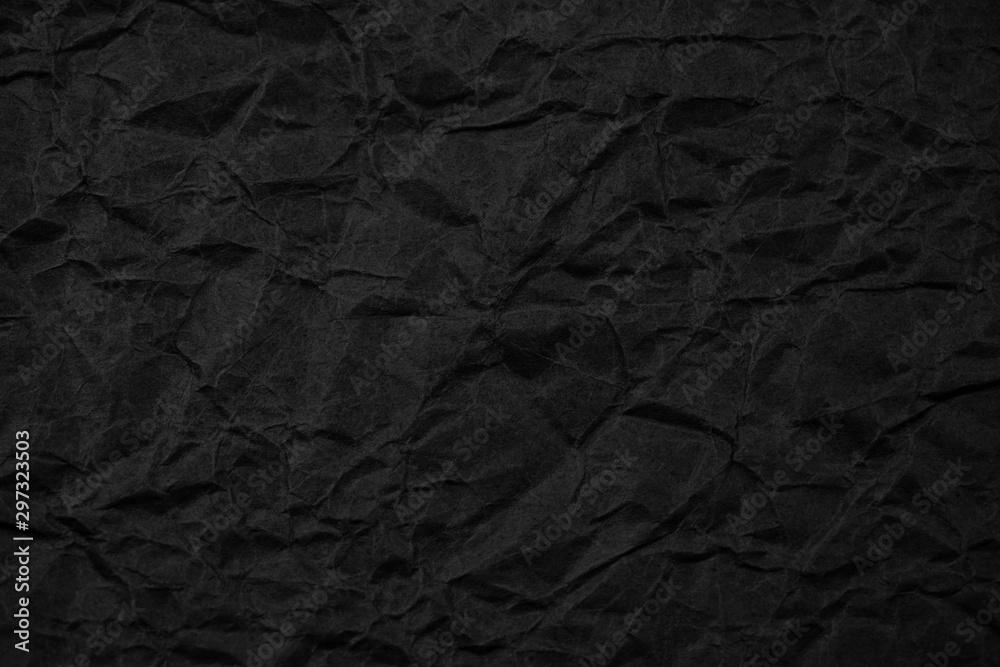 Fototapety, obrazy: Black crumpled packaging paper background texture. Dark Kraft Paper Coarse. Wrinkled paper bag