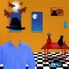 Room With Black Cat On Table. Invisible Man In Shirt And Hat. Art Imagination
