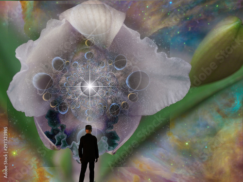 Fototapety, obrazy: Surreal art. Flower bud with planets and eye. Man in black suit