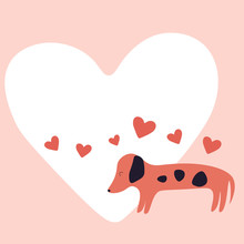 Dog Valentines Day, Love Hearts Card Vector Illustration