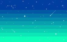 Pixel Art Star Sky At Evening. Vector Illustration.