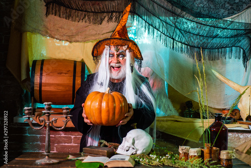 Halloween bearded man with blood make-up Wallpaper Mural