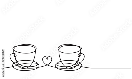 Сups and heart. Drawing by a continuous line. Symmetrical composition.