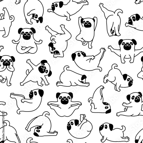 obraz lub plakat Cartoon Doodle Comic Outline Vector Seamless Pattern And Background Of Zen Meditating Pug Pet Dogs In Yoga Pose and Asana, Namaste