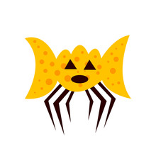 Orange Ghost With Round Patterns With Black Triangular Eyes And An Open Mouth