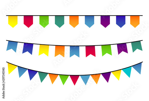 Deurstickers Carnaval Party Background with Flags Vector Illustration. Vector celebrate background party flags