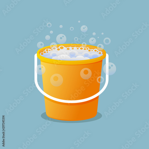 Plastic bucket with soap suds vector illustration. Canvas-taulu