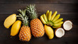 Various tropical fruits, bananas, pineapples mango coconut