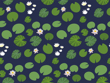 Seamless Pattern With Little Green Lily Pads And White Lotus Flowers On A Dark Background. Floral Print With Aquatic Plants. Botanical Texture, Overgrown Pond Vector Wallpaper.
