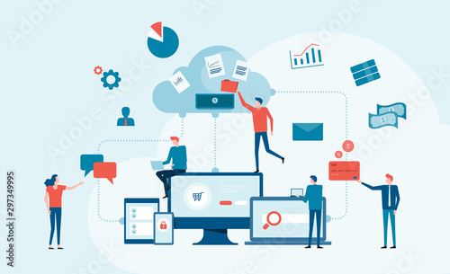 business technology cloud computing service concept and with developer team working concept - fototapety na wymiar