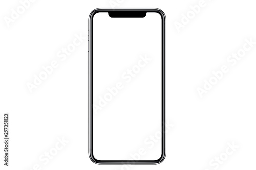 obraz PCV Studio shot of Smartphone iphoneX with blank white screen for Infographic Global Business Marketing investment Plan, mockup model similar to iPhone 11 Pro Max.