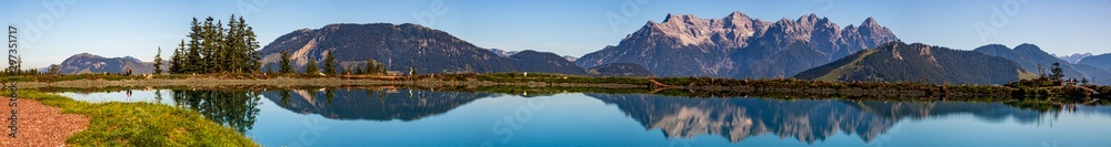 Fototapety, obrazy: High resolution stitched panorama of a beautiful alpine view with reflections in a lake at Fieberbrunn, Tyrol, Austria