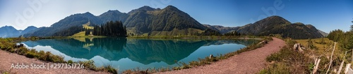 High resolution stitched panorama of a beautiful alpine view with reflections...