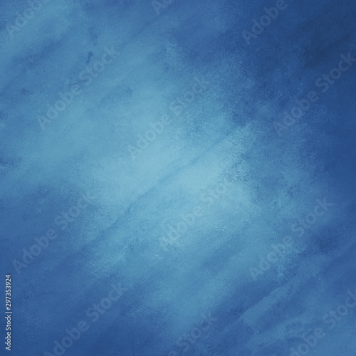 Fototapety, obrazy: blue background with watercolor paper texture and vintage grunge borders