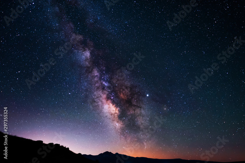 Beautiful milky way galaxy. Space background. Astronomical photo Fototapete