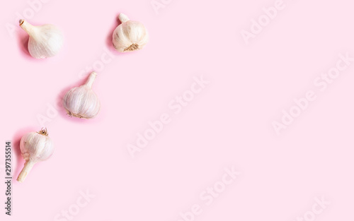 Flat lay composition with garlic on light background Canvas Print
