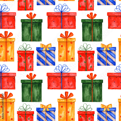 Montage in der Fensternische Künstlich Watercolor seamless pattern with Christmas gift boxes. Pattern with New Year presents on a white background