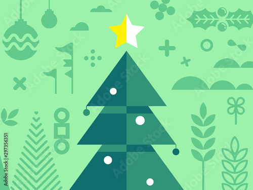 Fototapeta  Christmas tree with other element of Christmas in red tone - design for greeting