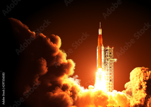 Space Launch System Takes Off At Night Wallpaper Mural