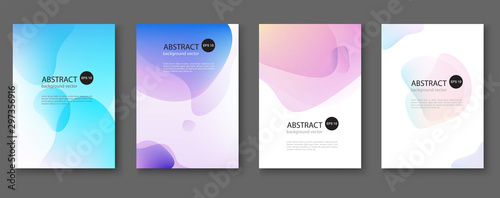 Fotografie, Obraz Set of abstract vector backgrounds with line waves