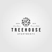Vintage Tree House Logo Nature...