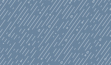 Rain Vector Pattern. Rainy Season Background In Simple Flat Style With Water Line And Liquid Drops. Rainfall Illustration
