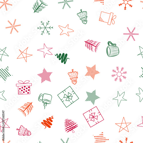 plakat Seamless vector pattern for Christmas and New Year holidays. Snowflakes and stars colorful background.